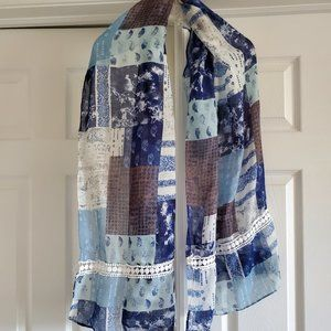 Long and light Blue and Brown Patterned Scarf Wrap